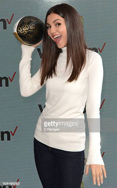 Victoria Justice attends Victoria Justice JJ Watt Kick off Exclusive Verizon VR Experience at Pepsi Super Bowl 50 at Super Bowl City on February 4...