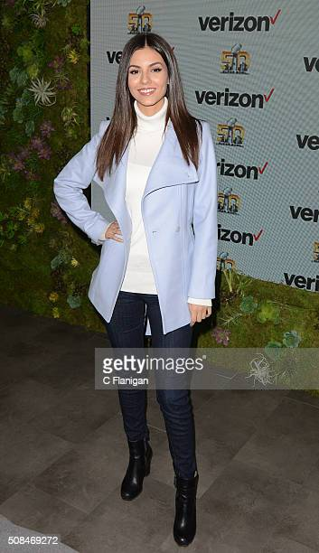 Victoria Justice attends Victoria Justice JJ Watt Kick off Exclusive Verizon VR Experience at Pepsi Super Bowl 50 at Super Bowl City on February 4...