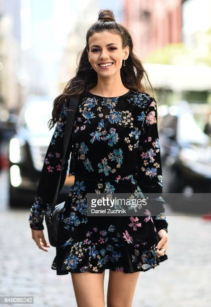 Victoria Justice is seen wearing a Rebecca Minkoff dress outside the Rebecca Minkoff show during New York Fashion Week Women's S/S 2018 on September...
