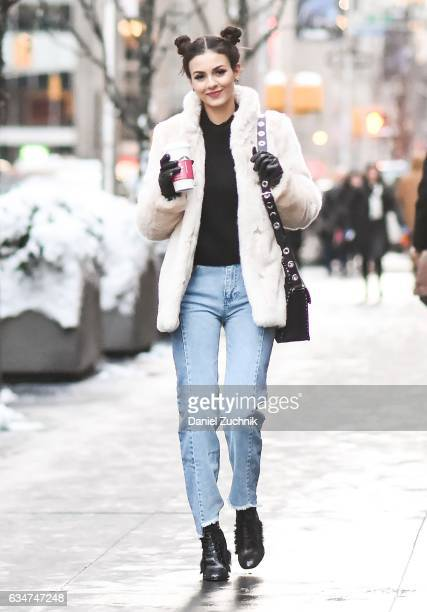 Victoria Justice is seen wearing an HM coat French Connection sweater and jeans Schutz shoes and a Rebecca Minkoff bag in midtown on February 10 2017...