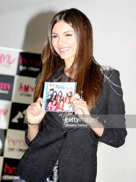 Victoria Justice meets fans and signs copies of her album 'VicTORious' at HMV Market Street on September 21 2012 in Manchester England