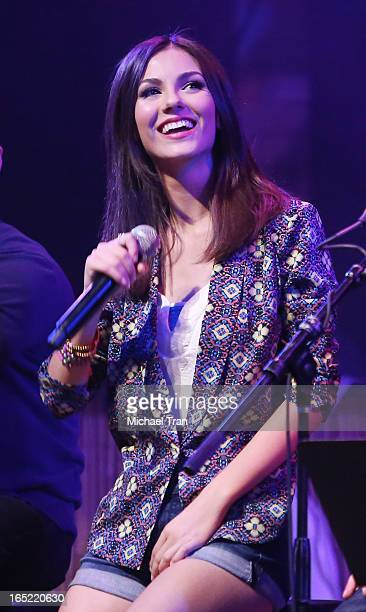 Victoria Justice performs at the Big Time Rush press conference and tour announcement held at House of Blues on April 1 2013 in West Hollywood...
