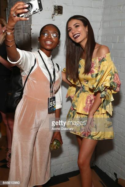 Victoria Justice pose backstage for the Marchesa fashion show during New York Fashion Week The Shows at Gallery 1 Skylight Clarkson Sq on September...