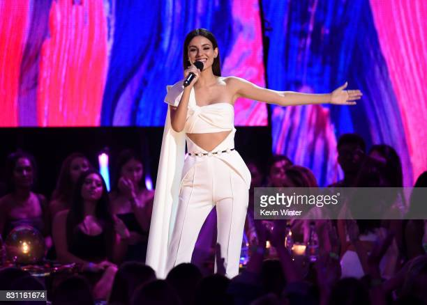 Victoria Justice speaks onstage during the Teen Choice Awards 2017 at Galen Center on August 13 2017 in Los Angeles California