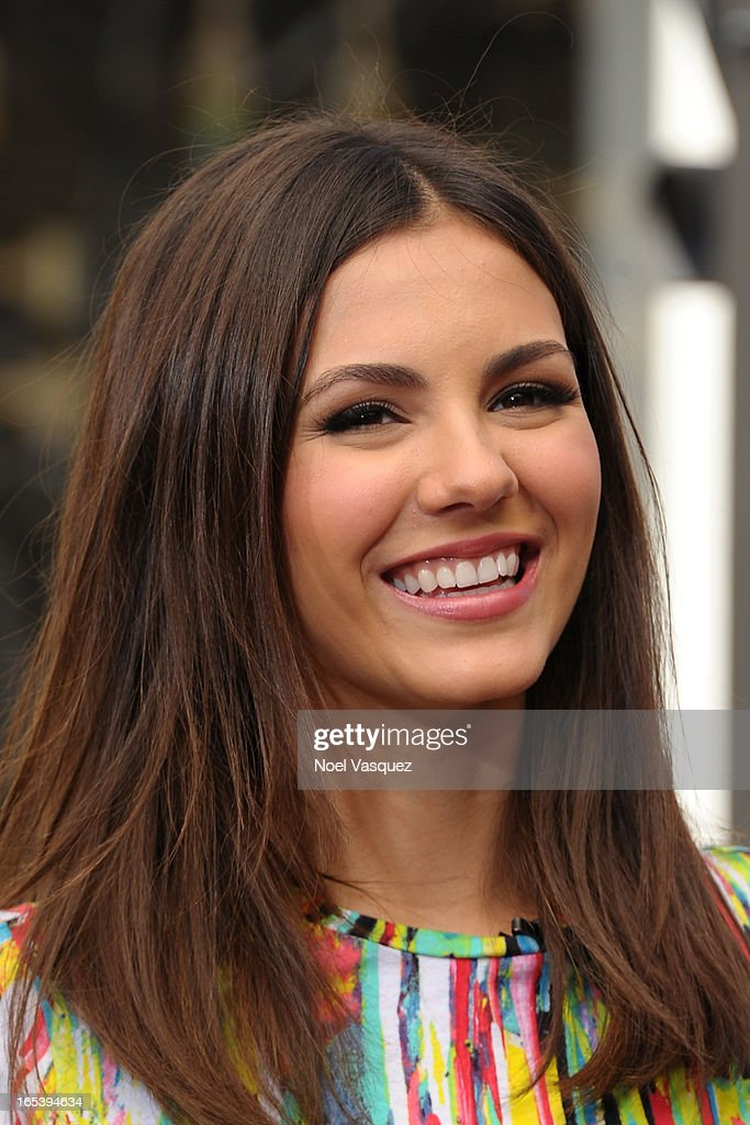 <a gi-track='captionPersonalityLinkClicked' href=/galleries/search?phrase=Victoria+Justice&family=editorial&specificpeople=569887 ng-click='$event.stopPropagation()'>Victoria Justice</a> visits 'Extra' at The Grove on April 3, 2013 in Los Angeles, California.