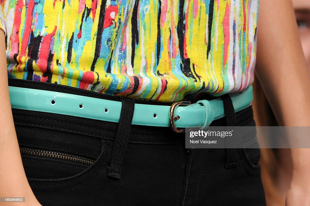 <a gi-track='captionPersonalityLinkClicked' href=/galleries/search?phrase=Victoria+Justice&family=editorial&specificpeople=569887 ng-click='$event.stopPropagation()'>Victoria Justice</a> (belt detail) visits 'Extra' at The Grove on April 3, 2013 in Los Angeles, California.