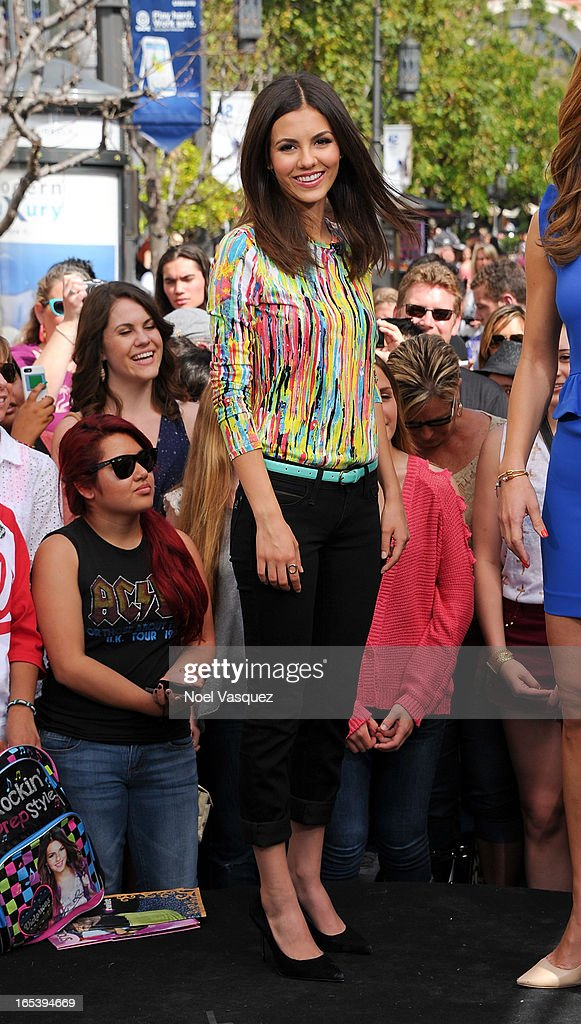 Victoria Justice visits 'Extra' at The Grove on April 3, 2013 in Los Angeles, California.