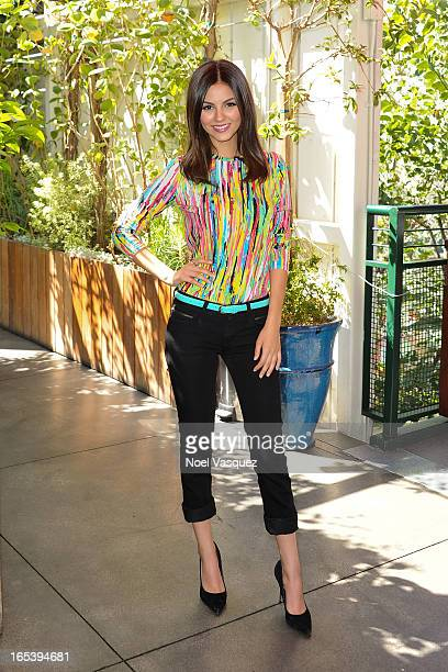 Victoria Justice visits 'Extra' at The Grove on April 3 2013 in Los Angeles California