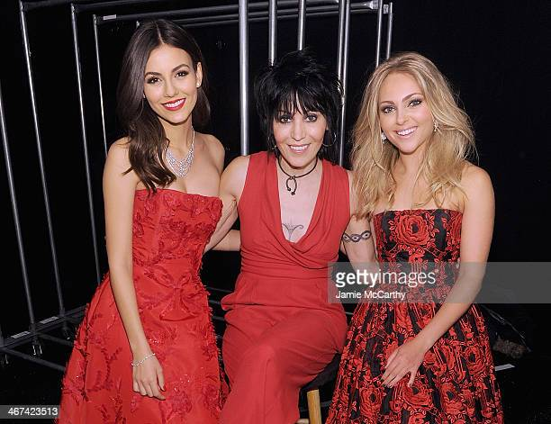 Victoria JusticeJoan Jett and AnnaSophia Robb attend Go Red For Women The Heart Truth Red Dress Collection during MercedesBenz Fashion Week Fall 2014...
