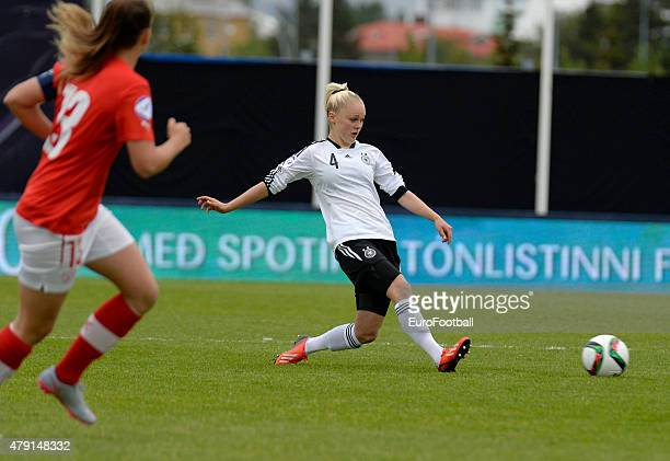 Victoria Krug of Germany in action during the UEFA European Women's Under17 Championship semi final between U17 Switzerland and U17 Germany at...