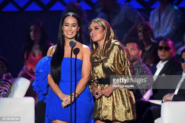 Victoria La Mala and Karol G speak on stage at the Univision's 'Premios Juventud' 2017 Celebrates The Hottest Musical Artists And Young Latinos...