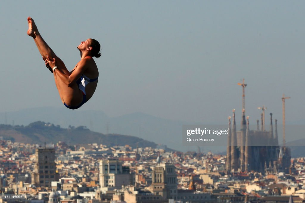 Victoria Lamp of USA competes in the Women's 10m Platform Diving final on day six of the 15th FINA World Championships at Piscina Municipal de Montjuic on July 25, 2013 in Barcelona, Spain.