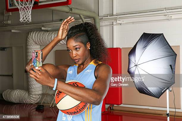 Victoria Macaulay of the Chicago Sky fixes her hair before posing for a 'selfie' during the 2015 Chicago Sky Media Day on May 18 2015 at the Sachs...