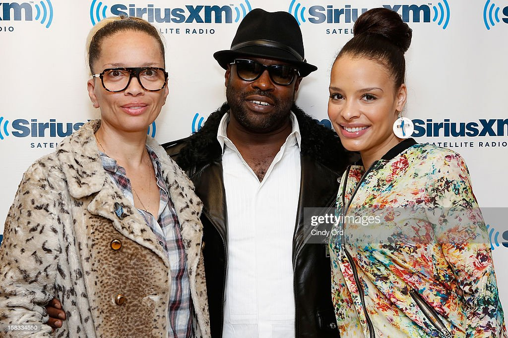 Victoria Mahoney, Tarik 'Black Thought' Trotter and Antonique Smith visit the SiriusXM Studios on December 13, 2012 in New York City.