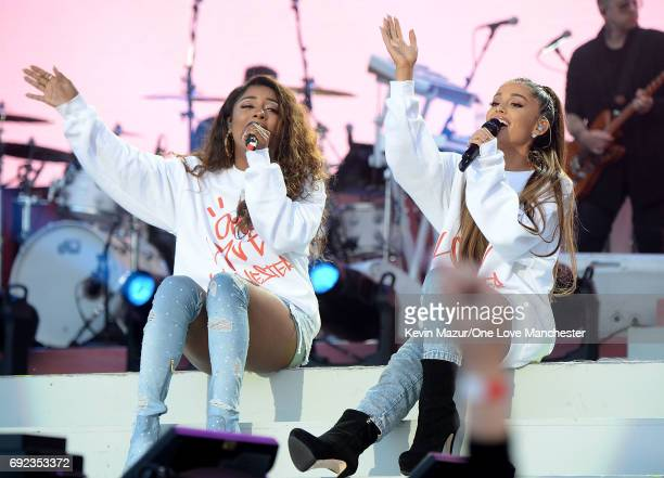 Victoria Monet and Ariana Grande perform on stage during the One Love Manchester Benefit Concert at Old Trafford Cricket Ground on June 4 2017 in...