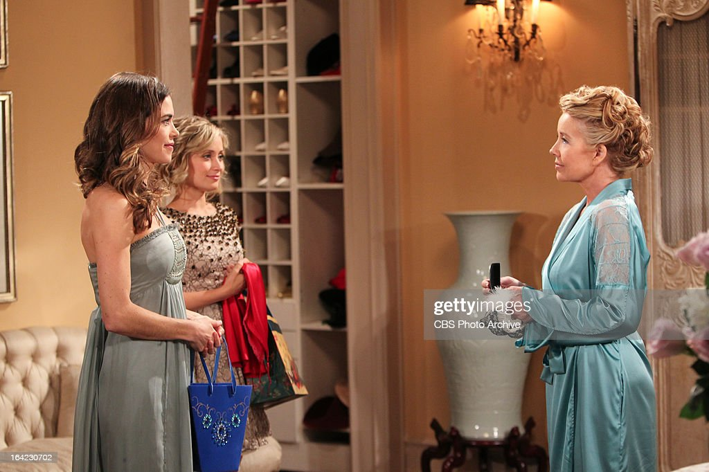 Victoria Newman Abbott (Amelia Heinle, left), Abby Newman (Marcy Rylan, center) help Nikki Newman (Melody Thomas Scott) prepare for her remarriage to Victor on THE YOUNG AND THE RESTLESS, scheduled to air Wednesday, March 20 on the CBS Television Network.