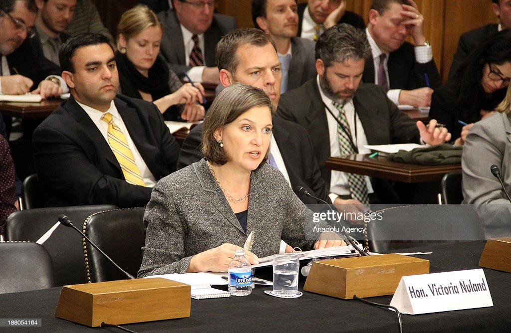 Victoria Nuland, the Assistant Secretary of State for European and Eurasian Affairs at the United States Department of State answers the senators' questions on the United States Senate Foreign Relations Committee on November 14, 2013 in Washington DC, United States.