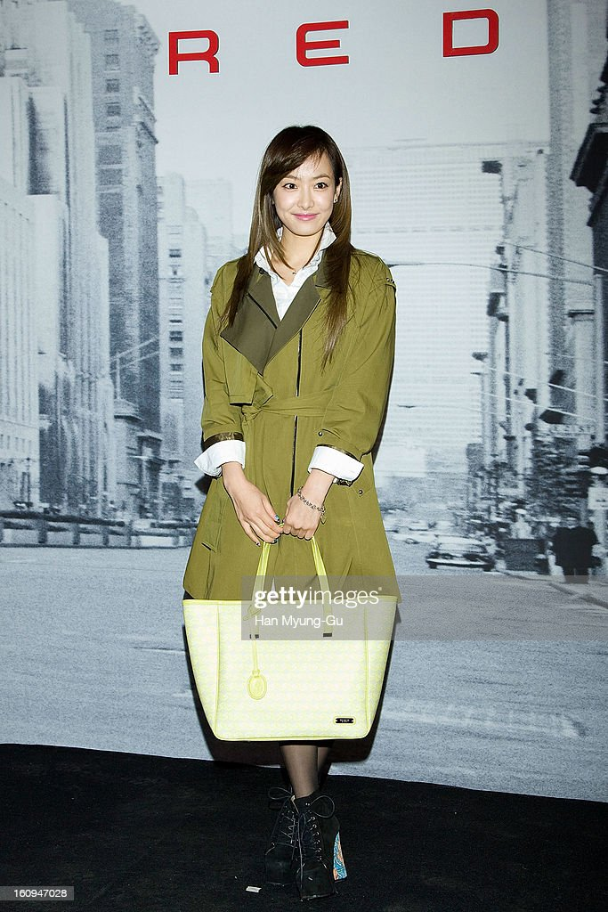 Victoria of girl group f(x) (bag detail) attends a promotional event for the 'Samsonite RED' Launching on February 7, 2013 in Seoul, South Korea.