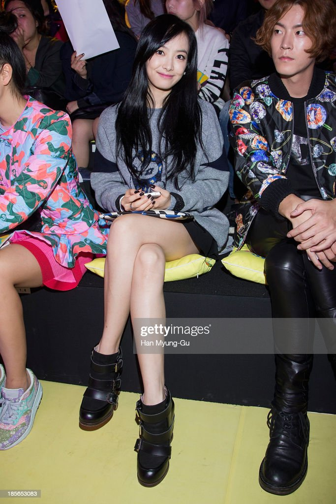 Victoria of girl group f(x) attends during at the 'Lucky Chouette' show on day five of the Seoul Fashion Week Spring/Summer 2014 at the Grand Hyatt Hotel on March 28, 2013 in Seoul, South Korea.