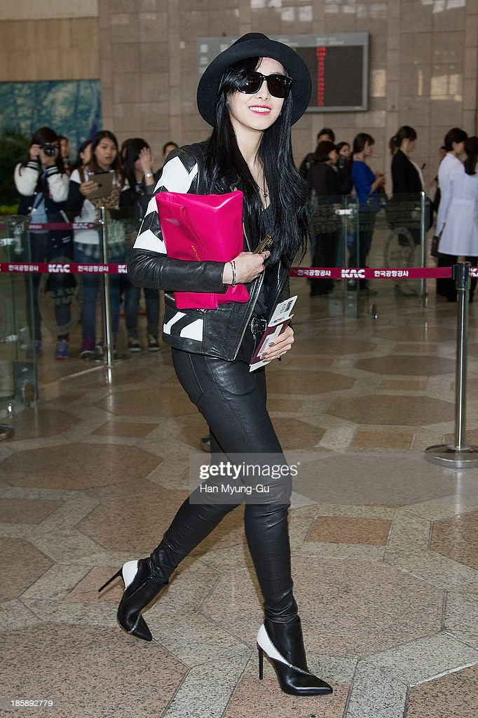 Victoria of girl group f(x) is seen on departure at Gimpo International Airport on October 25, in Seoul, South Korea.