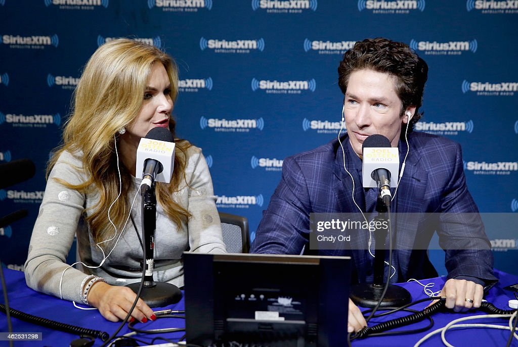 Victoria Osteen and preacher Joel Osteen attend SiriusXM at Super Bowl XLIX Radio Row at the Phoenix Convention Center on January 30 2015 in Phoenix...