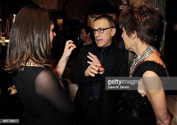 Victoria Parker Christoph Waltz and Peggy Siegal attend the Charles Finch and Chanel PreBAFTA cocktail party and dinner at Annabel's on February 8...