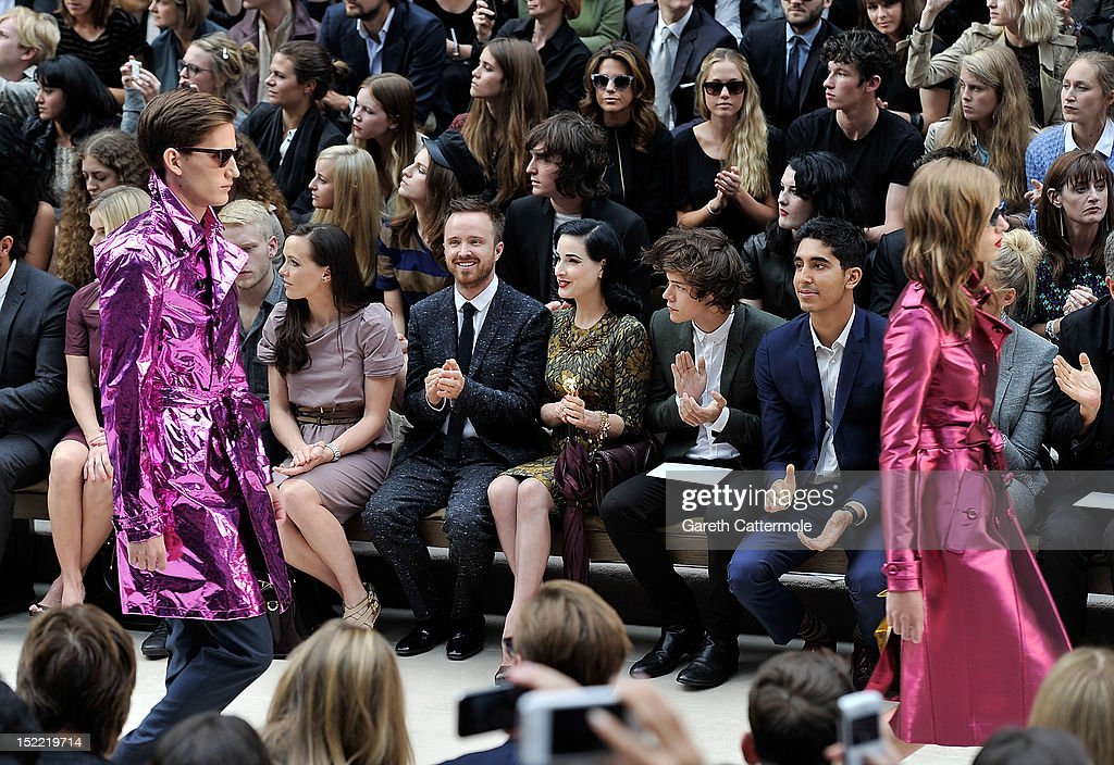 Victoria Pendleton, Aaron Paul, Dita Von Teese, Harry Styles and Dev Patel attend the Burberry Spring Summer 2013 Womenswear Show - Front Row at Kensington Gardens on September 17, 2012 in London, England.