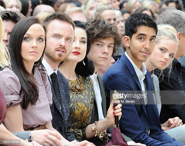 Victoria Pendleton Aaron Paul Dita Von Teese Harry Styles Dev Patel and Gabriella Wilde attend the Burberry Spring Summer 2013 Womenswear Show Front...