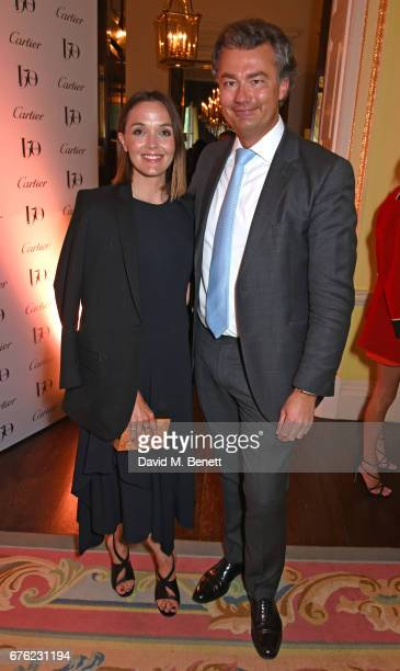 Victoria Pendleton and Laurent Feniou attend the Harper's Bazaar 150th Anniversary Party at William Kent House at The Ritz on May 2 2017 in London...