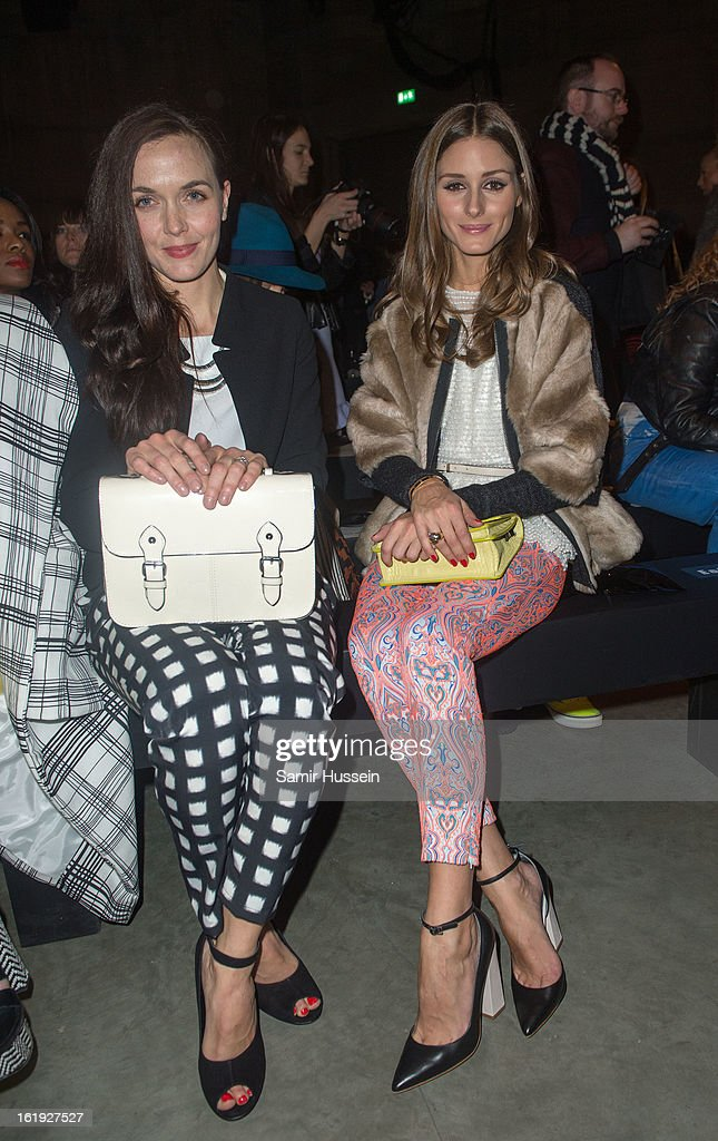 Victoria Pendleton and Olivia Palermo attend the Topshop Unique show at the Tate Modern during London Fashion Week Fall/Winter 2013/14 on February 17, 2013 in London, England.