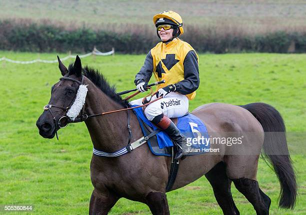 Victoria Pendleton and Supreme Danehill return after running in The Best Western Tiverton Hotel Confined Race run during The Silverton Foxhounds...
