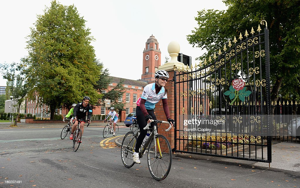 <a gi-track='captionPersonalityLinkClicked' href=/galleries/search?phrase=Victoria+Pendleton&family=editorial&specificpeople=228525 ng-click='$event.stopPropagation()'>Victoria Pendleton</a> arrives at Old Trafford during the second leg of the PruProtect Chance to Ride. Michael Vaughan is leading a host of stars and fundraisers on the event, which will raise funds for the Laureus Sport for Good Foundation and the Cricket Foundation's Chance to Shine initiative at Old Trafford on September 10, 2013 in Manchester, England.