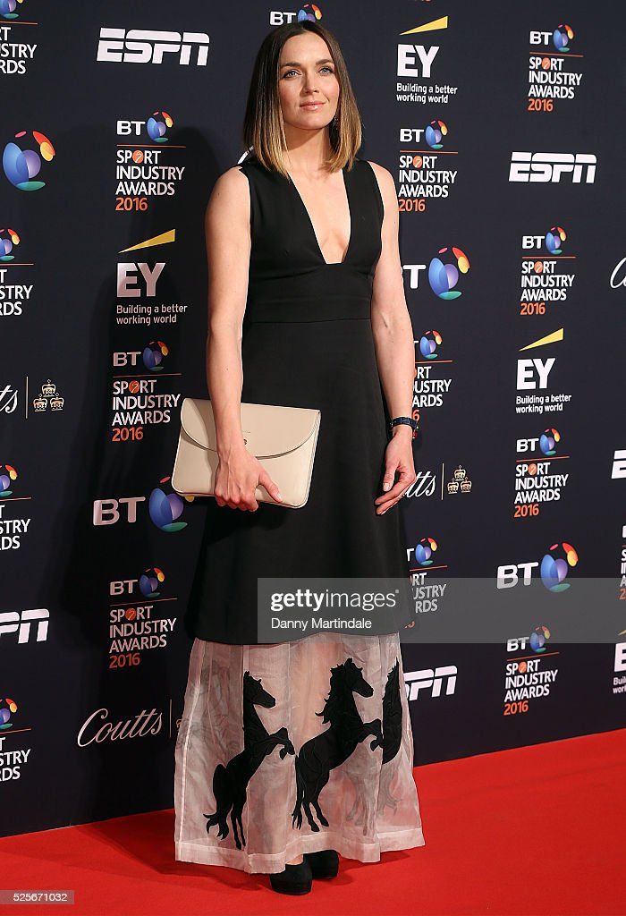 Victoria Pendleton arrives for the BT Sport Industry Awards at Battersea Evolution on April 28, 2016 in London, England.
