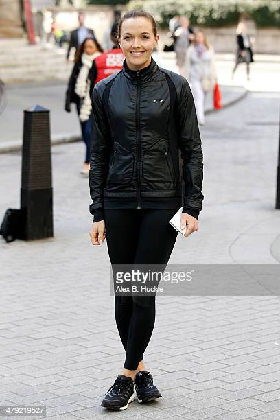 Victoria Pendleton at BBC Radio One Studios taking part in Radio Around the World Sport Relief Challenge on March 17 2014 in London England