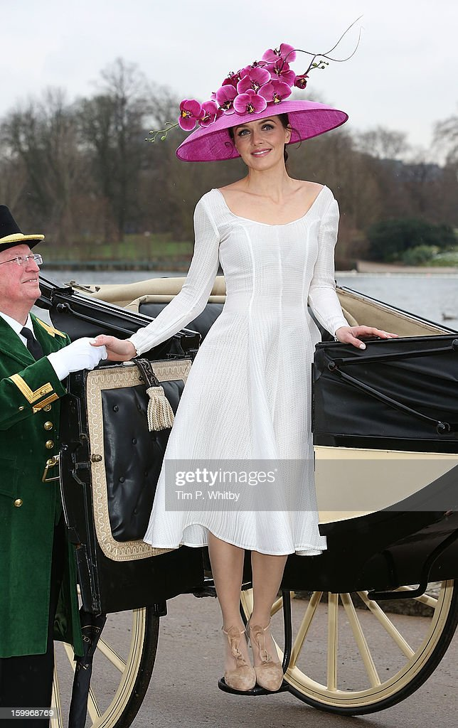 Victoria Pendleton attends a photocall to launch the Royal Ascot 2013 campaign 'The Colour and the Glory' at Hyde Park on January 24, 2013 in London, England. Victoria is wearing Emelia Wickstead and Philip Treacy.
