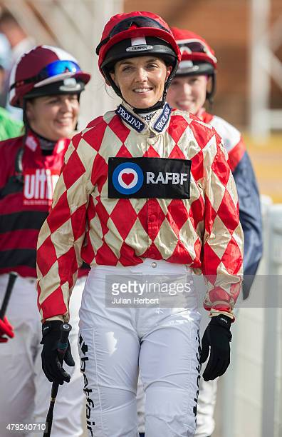Victoria Pendleton heads out to ride in The George Frewer Celebration Sweepstake Race run at Newbury Racecourse on July 2 2015 in Newbury England The...