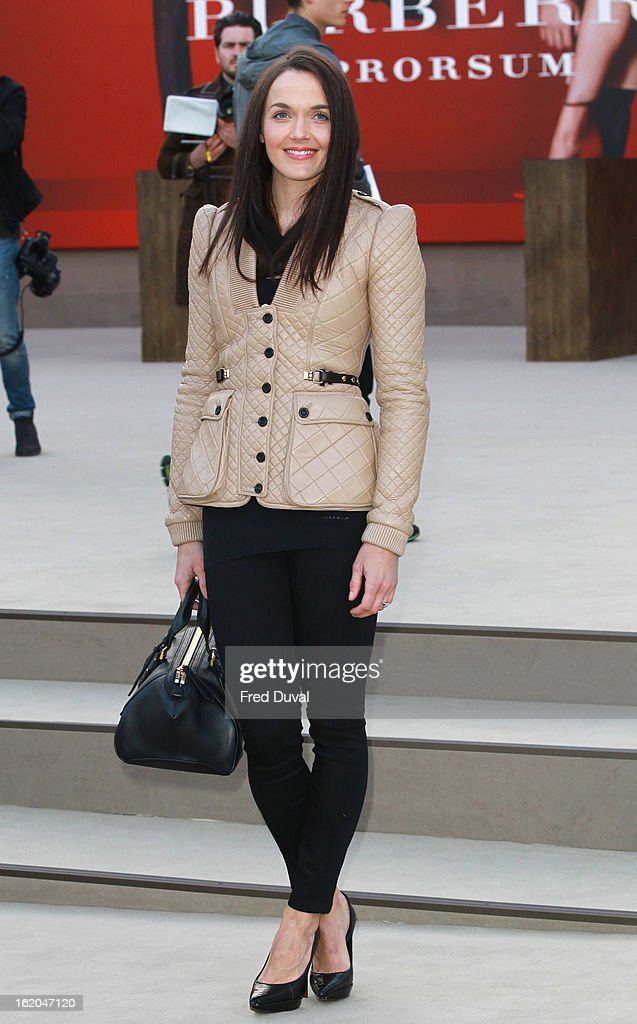 Victoria Pendleton is pictured arriving at the Burberry Prorsum during London Fashion Week on February 18, 2013 in London, England.