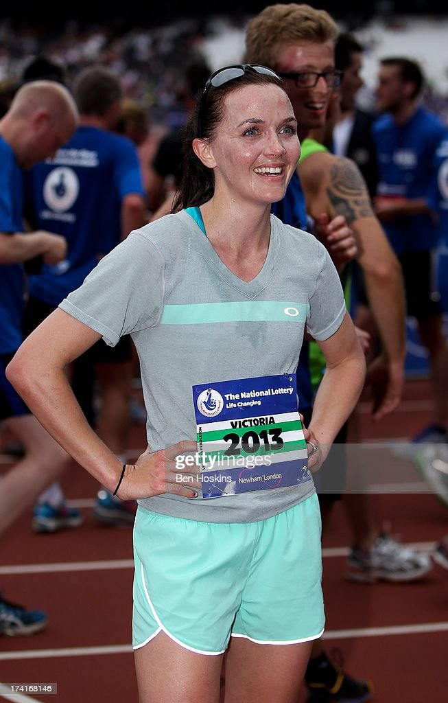 <a gi-track='captionPersonalityLinkClicked' href=/galleries/search?phrase=Victoria+Pendleton&family=editorial&specificpeople=228525 ng-click='$event.stopPropagation()'>Victoria Pendleton</a> looks on after completing The National Lottery Anniversary Run at The Queen Elizabeth Olympic Park on July 21, 2013 in Stratford, England.