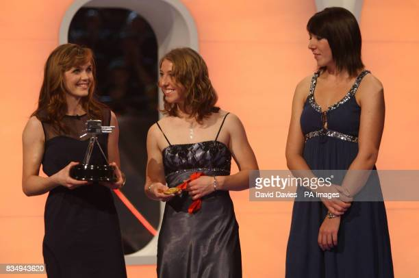 Victoria Pendleton Nicole Cooke and Rebecca Romero of the British Olympic Cycling Team receive the Team Of The Year award during the BBC Sport...