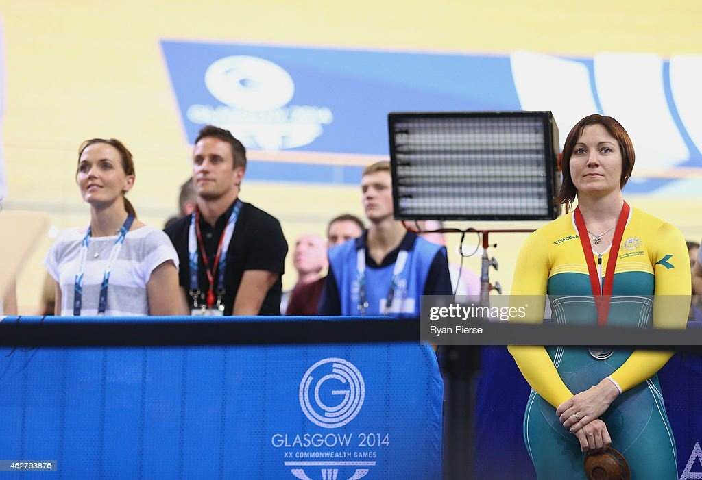 Victoria Pendleton (L) of England and Anna Meares (R) of Australia look on at Sir Chris Hoy Velodrome during day four of the Glasgow 2014 Commonwealth Games on July 27, 2014 in Glasgow, United Kingdom.