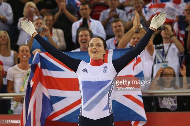 Victoria Pendleton of Great Britain celebrates after winning gold in the Women's Keirin Track Cycling final on Day 7 of the London 2012 Olympic Games...