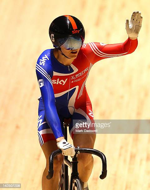 Victoria Pendleton of Great Britain celebrates defeating Anna Meares of Australia in their Womens Sprint Semifinals race during day three of the 2012...