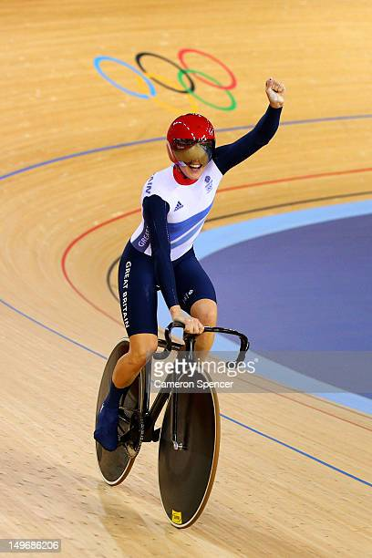 Victoria Pendleton of Great Britain celebrates winning her Women's Team Sprint Track Cycling Qualifying on Day 6 of the London 2012 Olympic Games at...