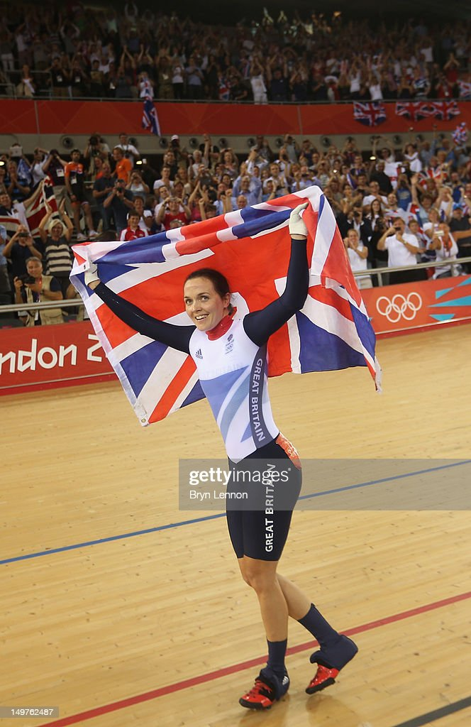 <a gi-track='captionPersonalityLinkClicked' href=/galleries/search?phrase=Victoria+Pendleton&family=editorial&specificpeople=228525 ng-click='$event.stopPropagation()'>Victoria Pendleton</a> of Great Britain celebrates with a Union Jack after winning gold in the Women's Keirin Track Cycling final on Day 7 of the London 2012 Olympic Games at Velodrome on August 3, 2012 in London, England.