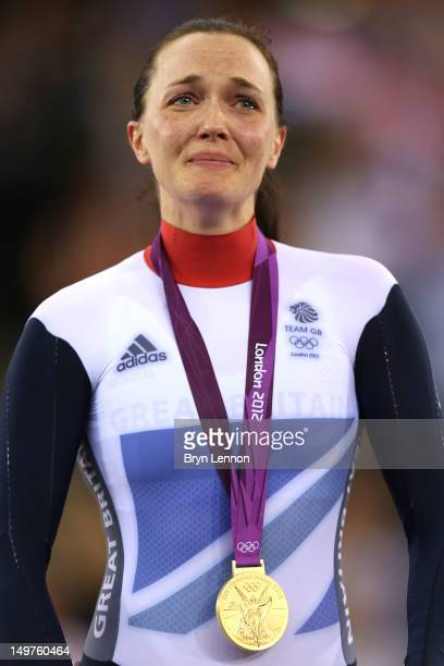 Victoria Pendleton of Great Britain celebrates with her gold medal during the medal ceremony for the Women's Keirin Track Cycling final on Day 7 of...