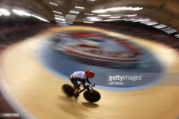 Victoria Pendleton of Great Britain competes during the Women's Sprint Track Cycling Qualifying on Day 9 of the London 2012 Olympic Games at...