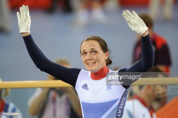 Victoria Pendleton of Great Britain waves to the crowd after winning the Silver Medal in the Women's Sprint Track Cycling Final on Day 11 of the...