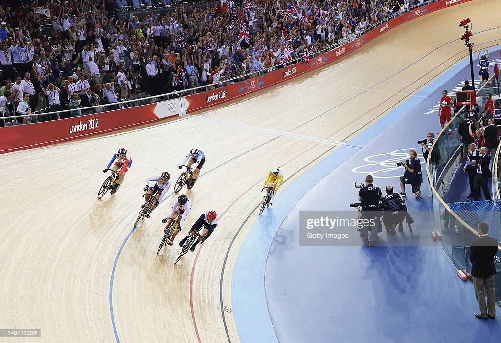 Victoria Pendleton of Great Britain wins the Women's Keirin Track Cycling final at the Velodrome on August 3, 2012 in London, England.
