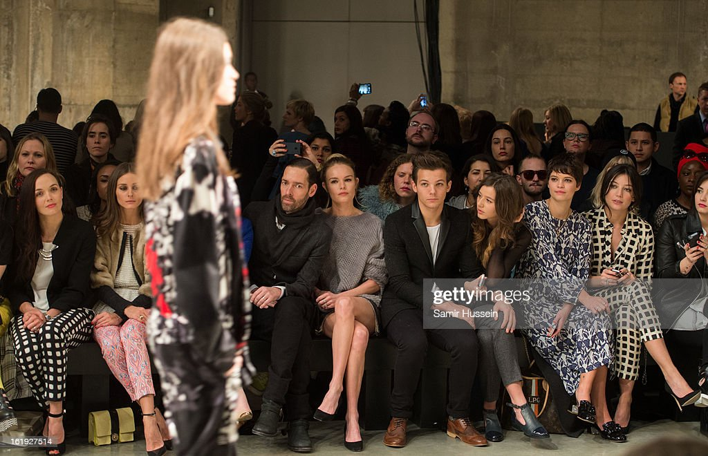 Victoria Pendleton, Olivia Palermo, Guest, Victoria Pendleton, Michael Polish, Kate Bosworth, Louis Tomlinson from One Direction, Eleanor Calder, Pixie Geldof and Daisy Lowe attend the Topshop Unique show at the Tate Modern during London Fashion Week Fall/Winter 2013/14 on February 17, 2013 in London, England.
