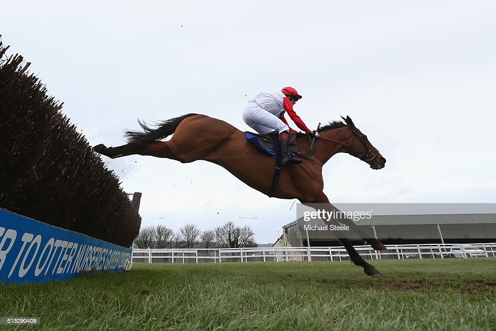 Victoria Pendleton riding Pacha Du Polder in the Betfair Switching Saddles Hunters' Steeplechase at Wincanton Racecourse on March 2, 2016 in Wincanton, England.